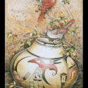 #1350 Cardinals on Pot w/Raspberries Limited-Edition Giclee  (Edition Size: 50)