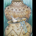 #1353 Two Cactus Wrens, Two Baskets & Turquoise Limited-Edition Giclee (Unframed Canvas On Masonite) (Edition Size: 50)