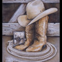 #1347 Cowboy Boots, Hat, Rope & Photo Limited-Edition Giclee  (Edition Size: 50)