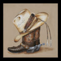 #1183 Cowboy Boots & Hat Limited-Edition Giclee (Unframed Canvas On Masonite) (Edition Size: 50)