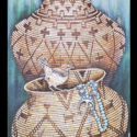 #1353 Two Cactus Wrens, Two Baskets & Turquoise  (12″ X 24″ Print Also Available For $150.00)