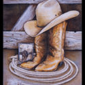 #1347 Cowboy Boots, Hat, Rope & Photo Limited-Edition Giclee (Unframed Canvas On Masonite) (Edition Size: 50)