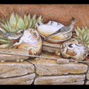 #1341 Roadrunners, Two Pots, Bowl & Cactus Limited-Edition Giclee  (Edition Size: 50)