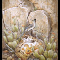 #1344 Roadrunner on Pot w/Mouse & Prickly Pear Cactus  (27″ X 36″ Print Also Available For $350.00)