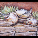 #1341 Roadrunners, Two Pots, Bowl & Cactus Limited-Edition Giclee (Unframed Canvas On Masonite) (Edition Size: 50)