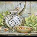 #1377 Gambel's Quail on Pot w/Basket & Cactus Fruit Limited-Edition Giclee (Unframed Canvas On Masonite) (Edition Size: 50)