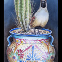 #1474 Gambel's Quail on Talavera Pot