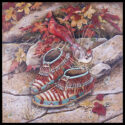 #1479 Cardinals w/Moccasins & Fall Leaves