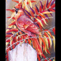 #1356 Cardinals w/Fence Post & Red Leaves (Unframed Canvas On Masonite) (Edition Size: 50)
