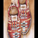 #1459 Moccasins w/Feather & Turquoise Necklace (Unframed Canvas On Masonite) (Edition Size: 50)