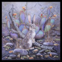 #1513 Rabbit w/Prickly Pear and Cholla Cactus