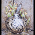 #1518 Gambel's Quail on Pot w/Prickly Pear Cactus