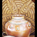 #1390 Pot w/Arrows, Two Baskets & Turquoise (Unframed Canvas On Masonite) (Edition Size: 50)