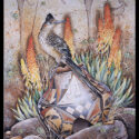 #1580 Roadrunner on Pot w/Yellow Spears (Unframed Canvas On Masonite) (Edition Size: 50)