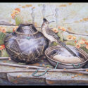 #1589 Roadrunner w/Pot, Bowl, Turquoise & Prickly Pear Cactus