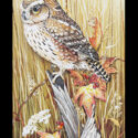 #1507 Owl on Fence w/Grass & Leaves